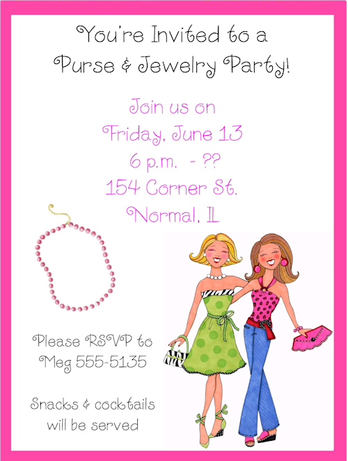 girly purse and jewelry party invitations | sample party invites, Party invitations