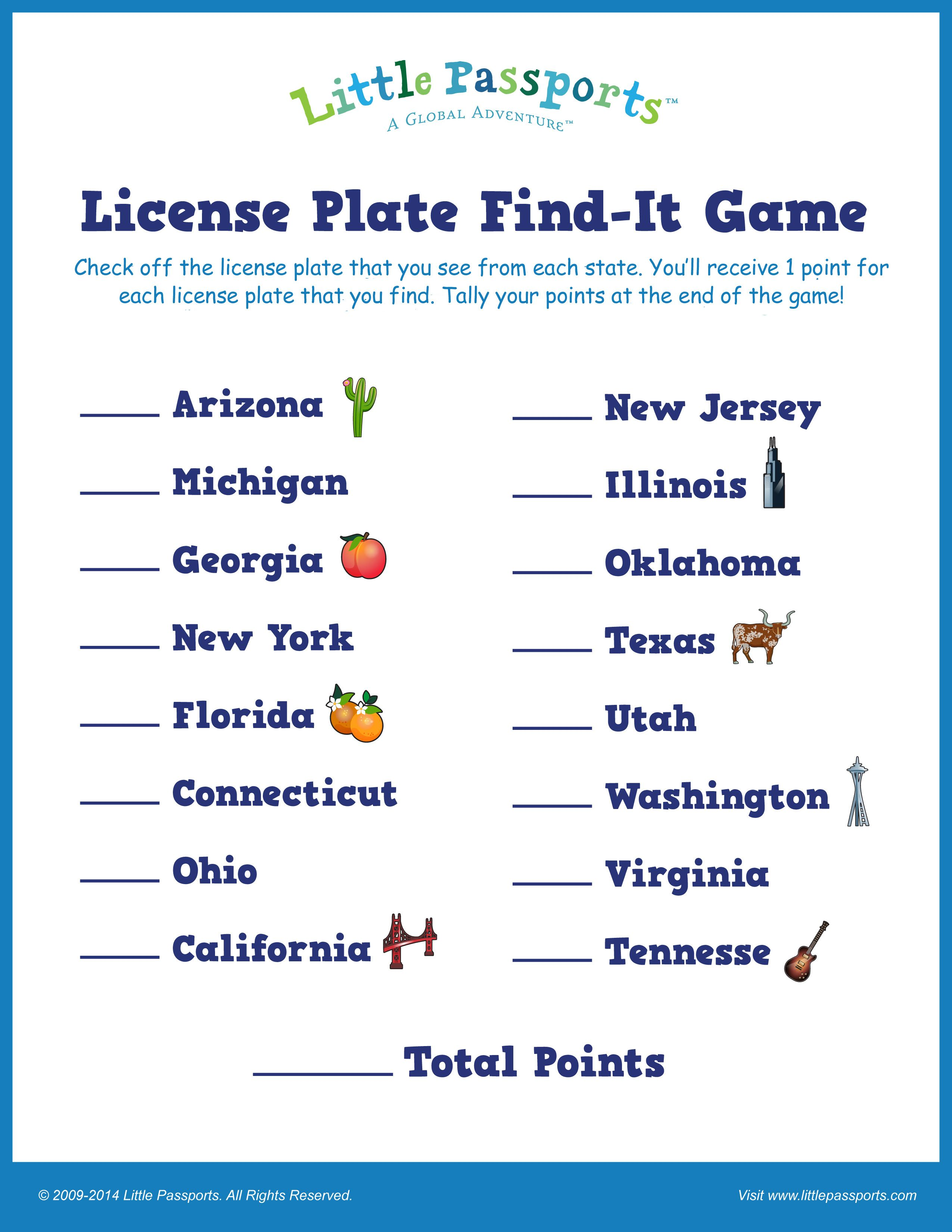 Printable License Plate Game For Kids