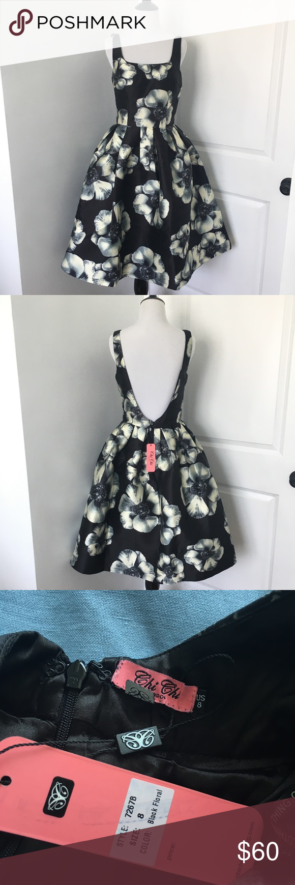 Modcloth Open Back Midi Dress Super cute Back with off white / cream colored floral pattern with a low Open Back  Size 8 but would fit a 6 better  Brand new with tags! The brand is Chi Chi London and it was bought from Modcloth but it's also sold at Asos Modcloth Dresses Midi