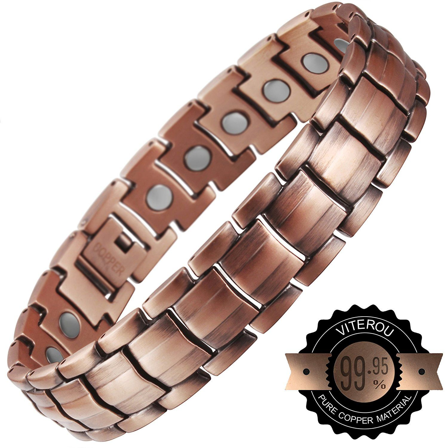 Viterou Mens Magnetic Pure Copper Bracelet With Healing Magnets Pain Relief For Arthritis 3500 Gauss Ca Jewelry