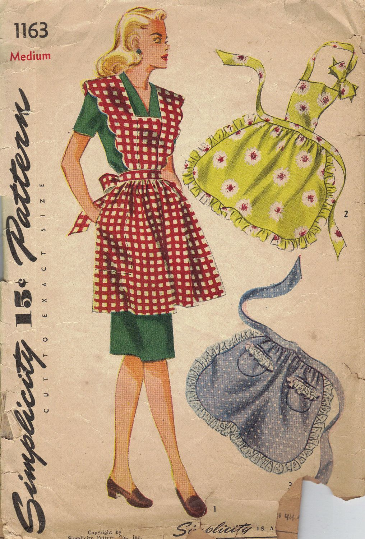 1940s Kitchen Apron Simplicity Sewing Pattern Full Bib