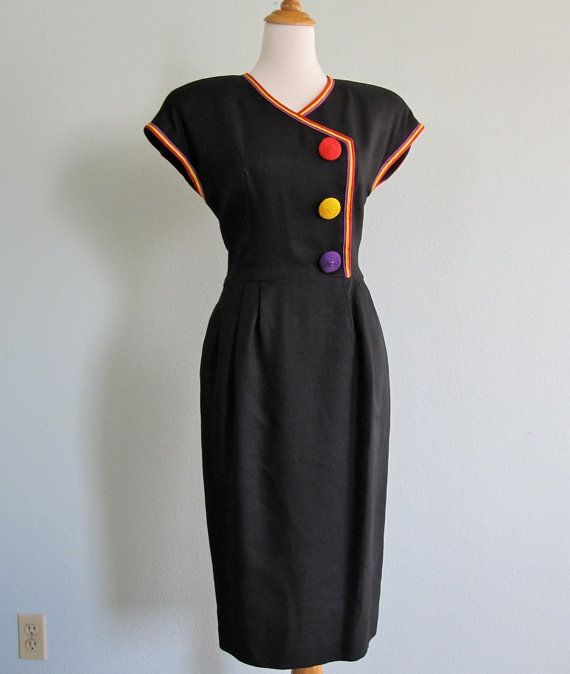 Vintage 1980s Dress - Black Linen Wiggle Dress with Bright Buttons - 80s Art Director Dress M via Etsy