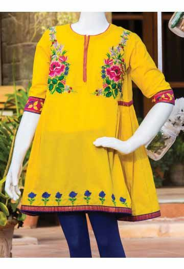 6970a12326a2c Yellow embroidered short frock with blue tights for baby girls in Pakistan  latest kids eid dresses for little girls in Pakistan 2017