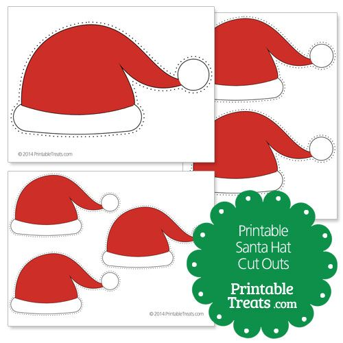 Printable Santa Hat Cut Outs Photo Props Pinterest Santa hat