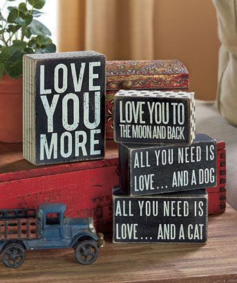 Express your #love for a special someone or for your pet with this #Sentiment Box Sign. The distressed wooden background helps the cream-colored letters pop. Set it on an end table or shelf for a stylish accent. #qoutes
