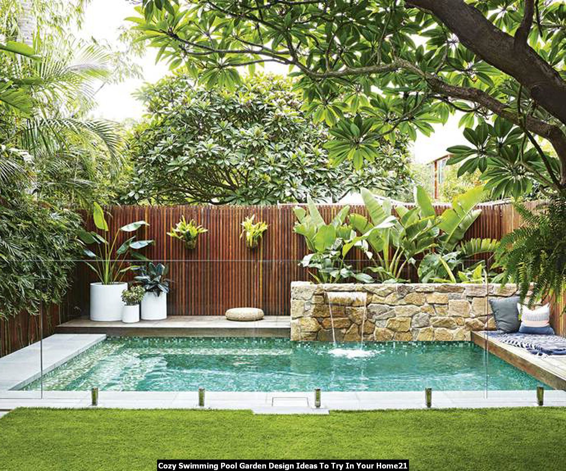 Amazing 20 Cozy Swimming Pool Garden Design Ideas To Try In Your Home Backyard Pool Landscaping Luxury Pools Backyard Small Backyard Pools