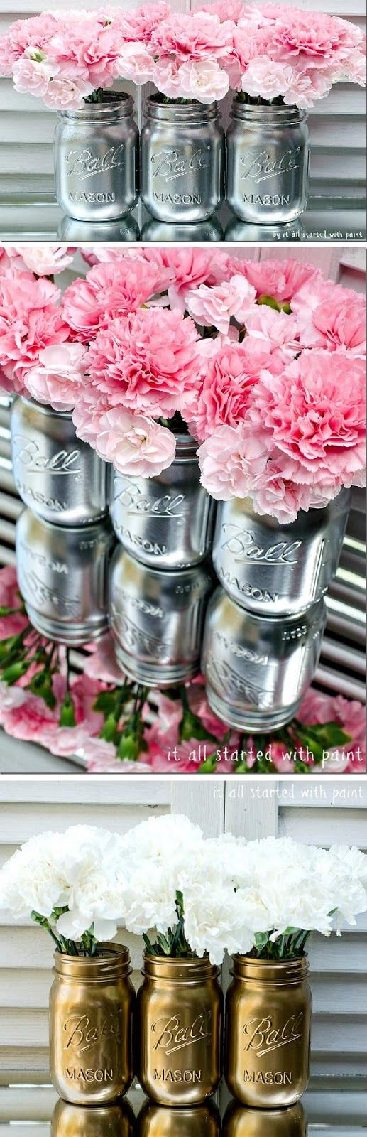 Pink flowers and white roses - Metallic painted mason jars