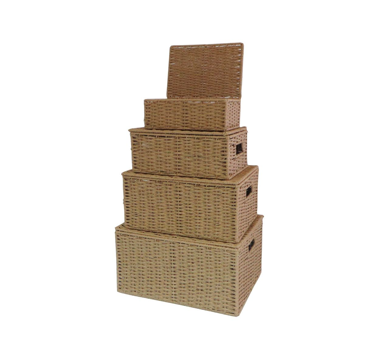 Natural Paper Rope Storage Baskets Boxes Hampers With Lids, Set Of 4  Wb