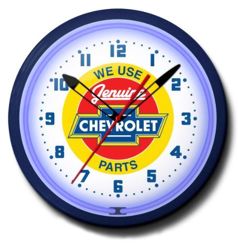 Wall Clocks Decor Chevy Red Center Parts Neon 20 Wall Clock Made In Usa New Check This Awesome Product By Going To The Link At The Image Note It Is Affili