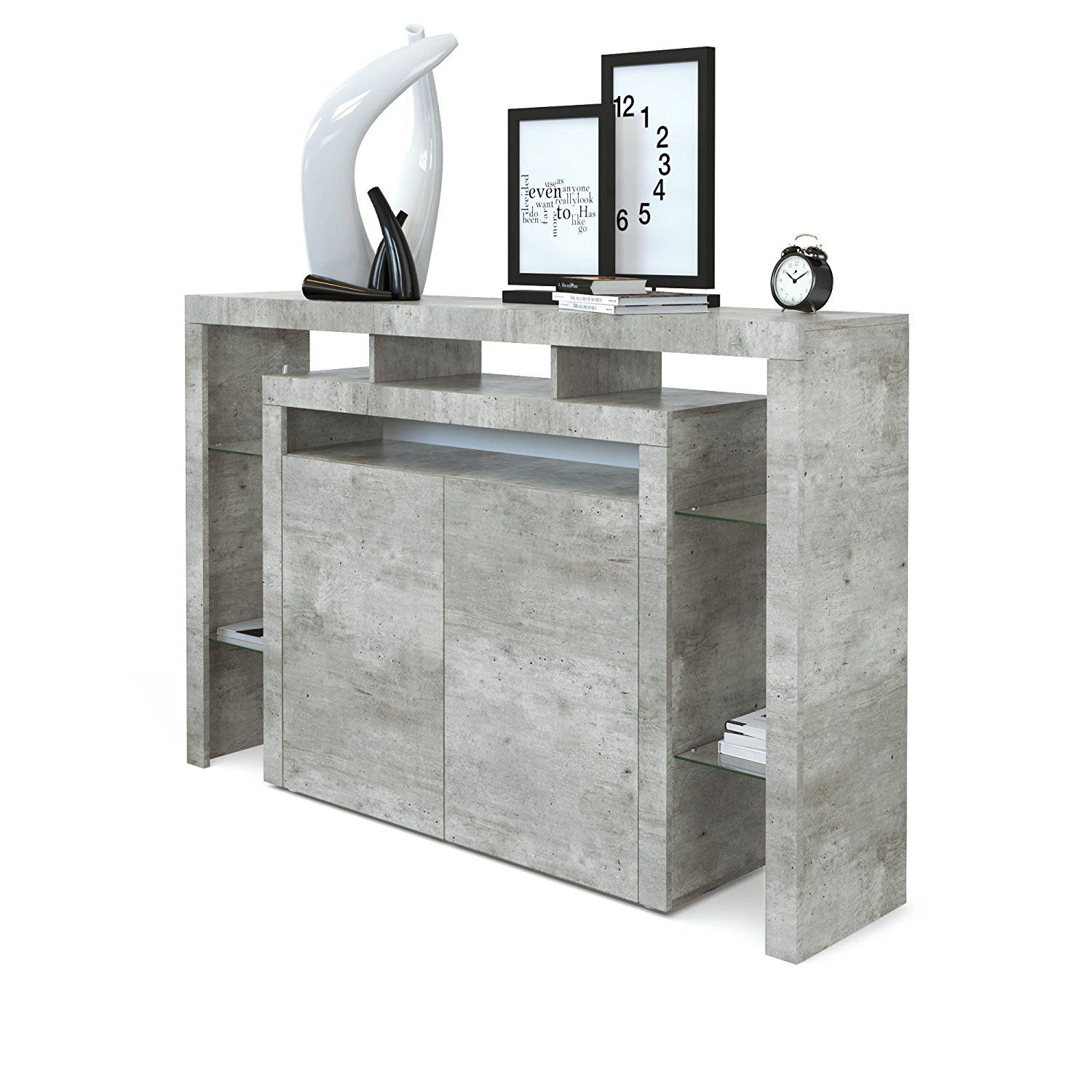 Highboard Sideboard Korpus Und Fronten In Moderner Beton Optik
