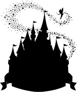 cinderellas castle sillouette with tinkerbell