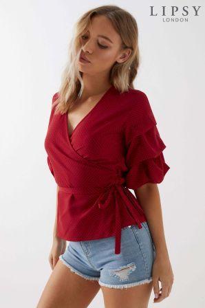 0c7829bc07fb8b Womens Lipsy Polka Dot Wrap Tuck Sleeve Top - Red