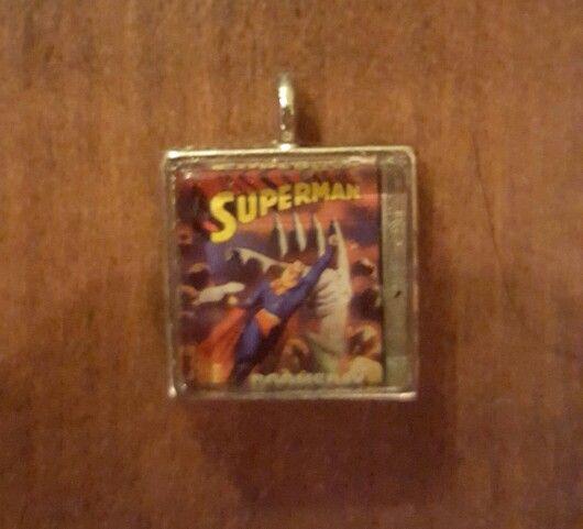 Superman comic pendant by Brandy Nicole Neal   Superman