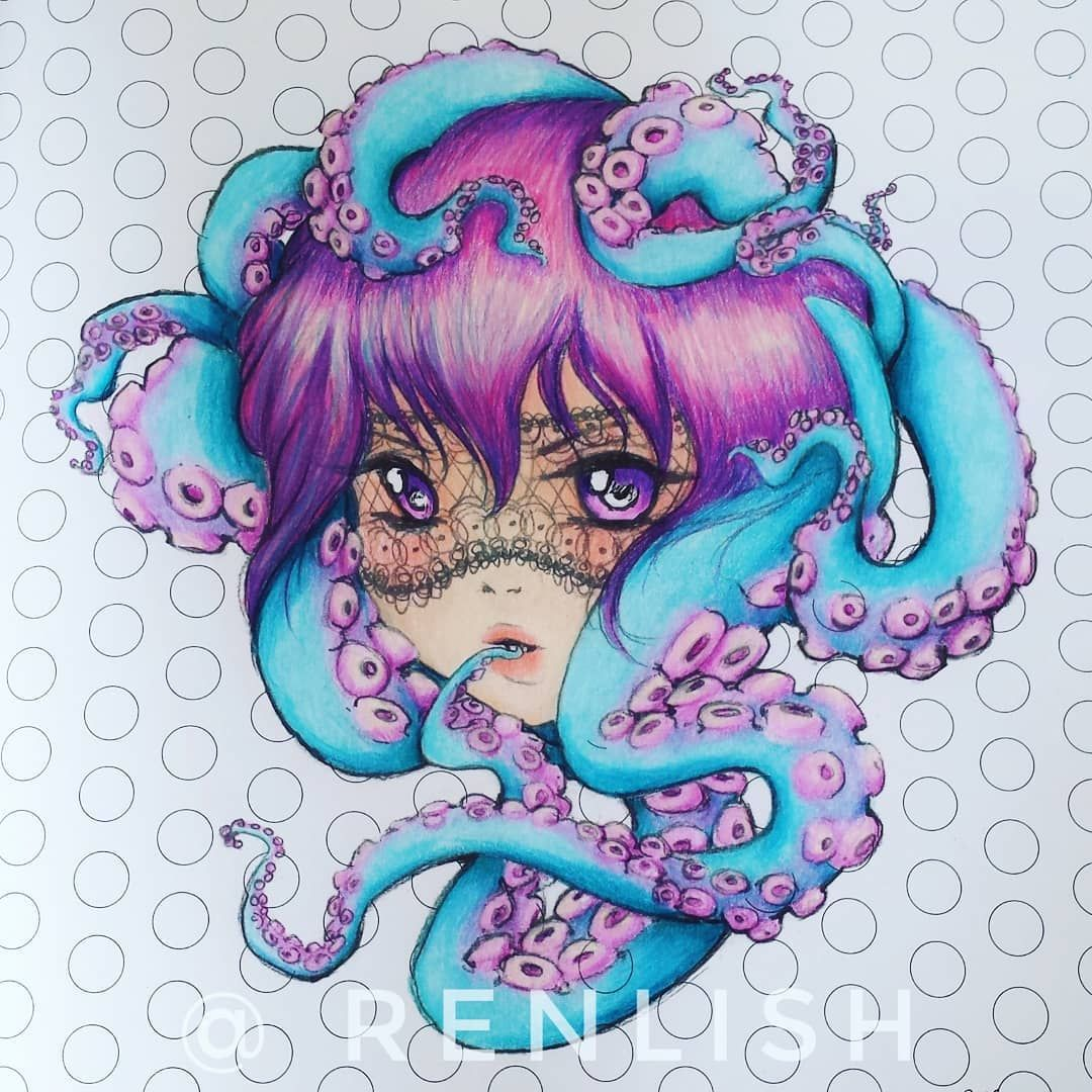 The Results Of Some Very Late Night Colouring Popmangacoloringbook Manga Anime Octopus Polychromo Manga Coloring Book Mermaid Coloring Book Manga Mermaid