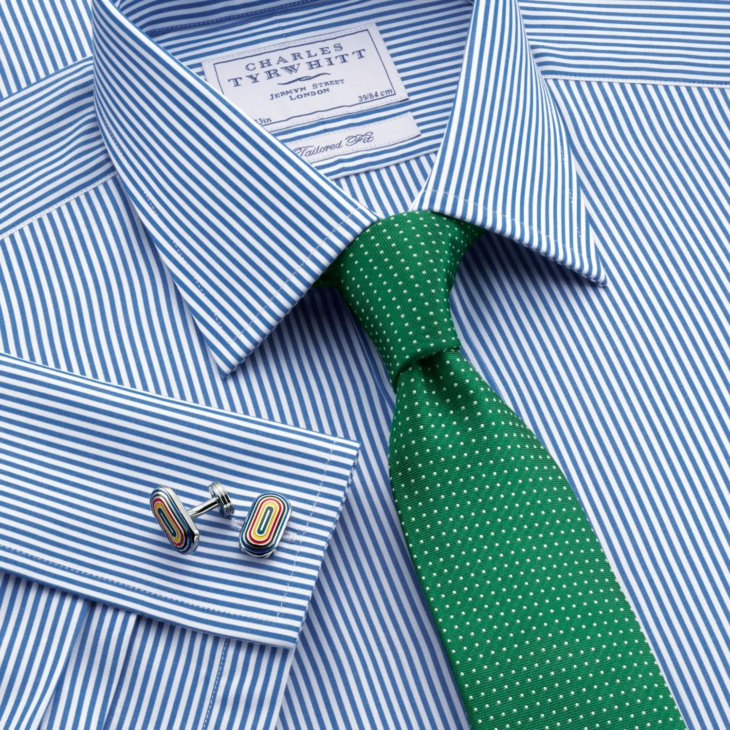 Great shirt and tie combo blue bengal stripe tailored fit Blue suit shirt tie combinations