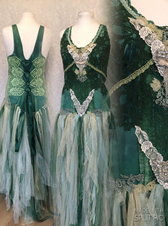 Boho wedding dress black and dark green victorian gown dark colors