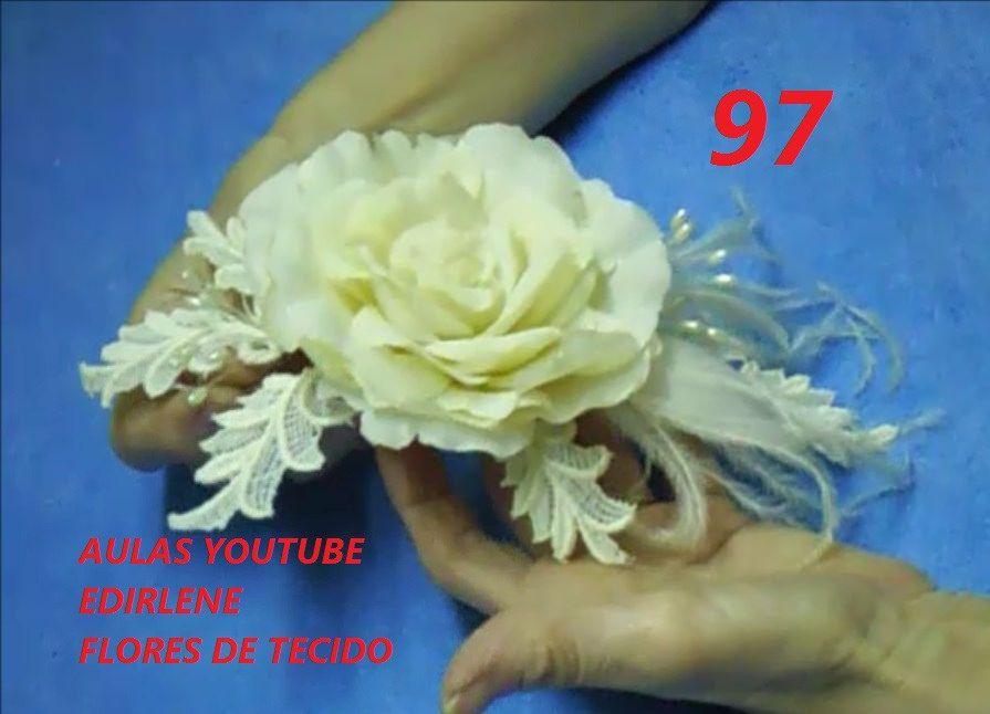 Aula 97 Arranjo De Rosa Com Folhas De Renda E Plumas Lindo E