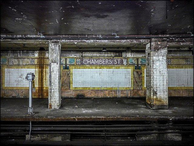 Decaying subway station.