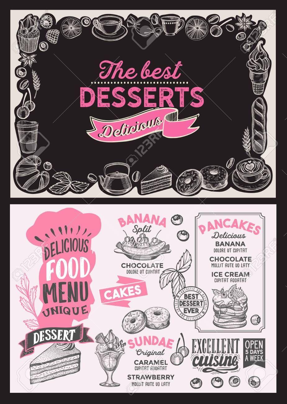 Dessert Menu Template For Restaurant On Background Illustration Brochure For Food And Drink Cafe Layout With Vint Desserts Menu Menu Template Food Menu Design