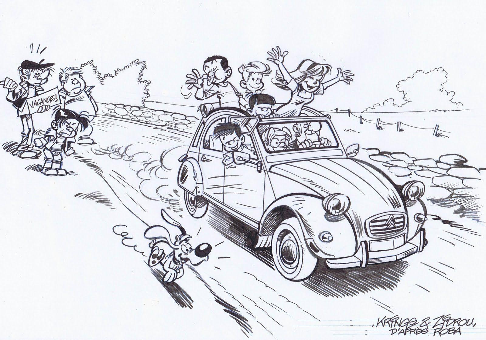 Boule bill deudeuche nostalgie voiture 2cv et 2cv - Dessin humoristique voiture ...