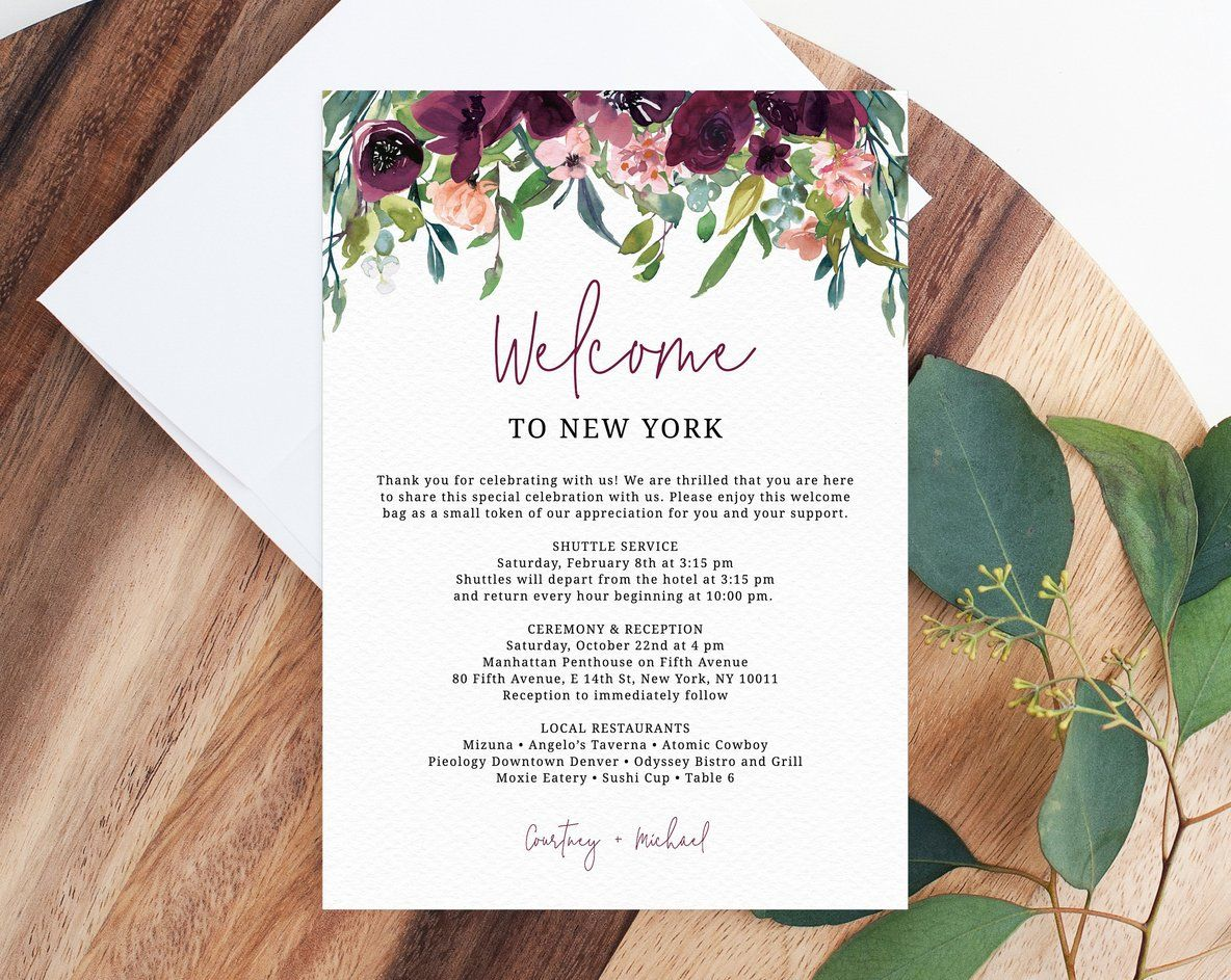 Burgundy Welcome Letter Template Wedding Itinerary Card Welcome Bag Letter Wedding Agenda Printable Hotel Welcome Note Templett W32 Wedding Agenda Wedding Itinerary Welcome Letters