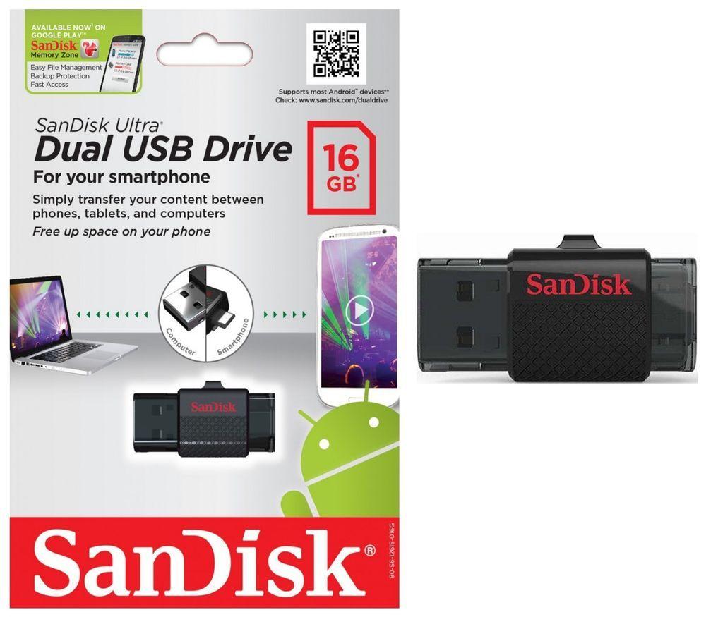 Sandisk 16gb Ultra Dual Otg Usb 2 Flash Drive Micro Thumb Stick 16 Gb Android 4 Mobile