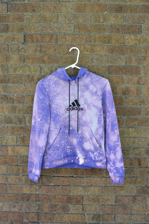 Upcycled ADIDAS Hoodie Purple Bleach Splatter Size XS Tumblr Rad Pastel Goth