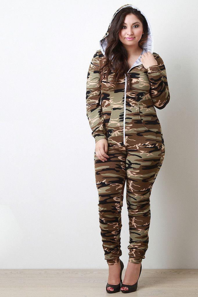 eaf67422153 Trendy Women s Plus Size Clothing. Camouflage Zipper Hoodie Jumpsuit