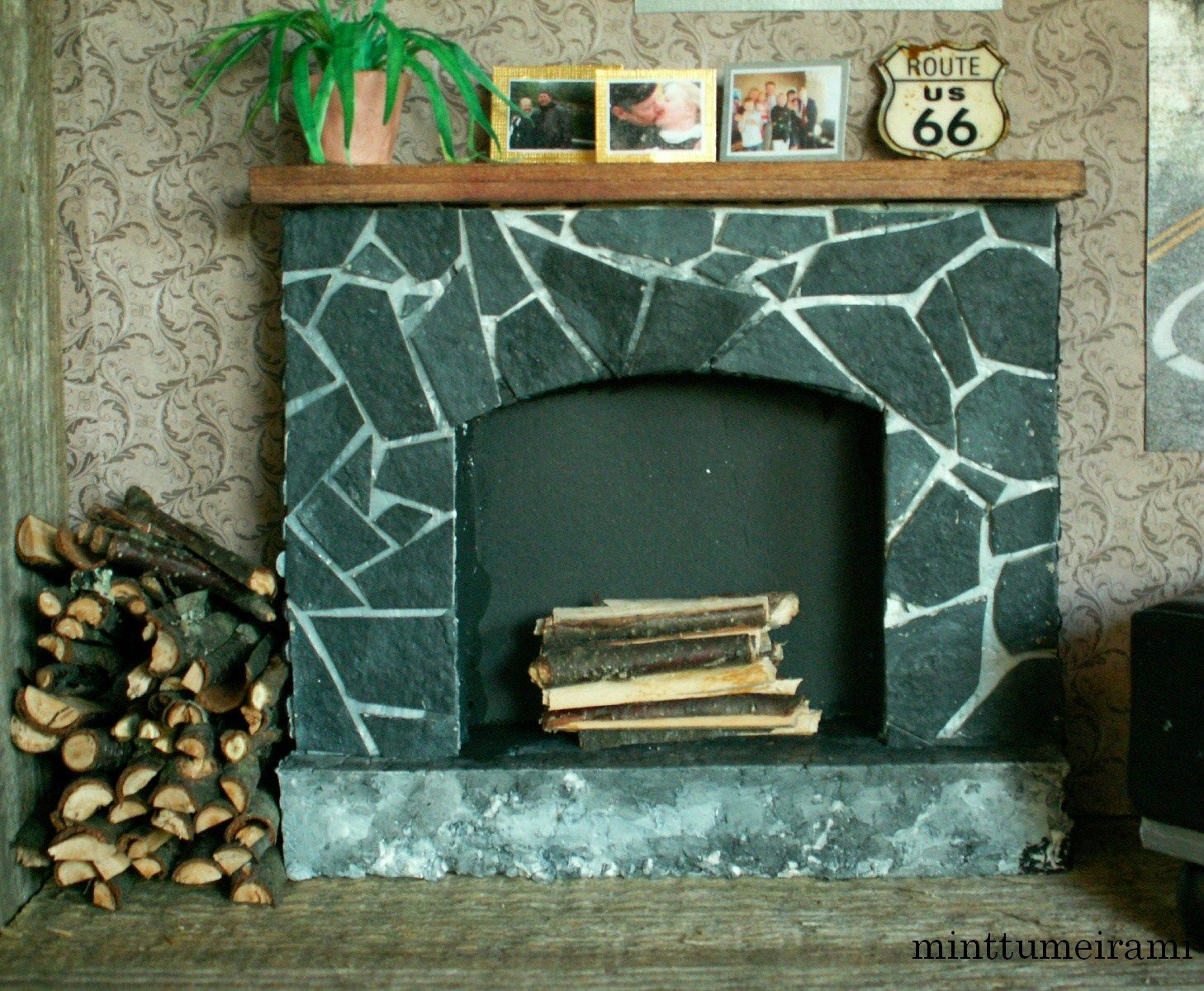 how to: faux soapstone fireplace - styrofoam and cardboard ...