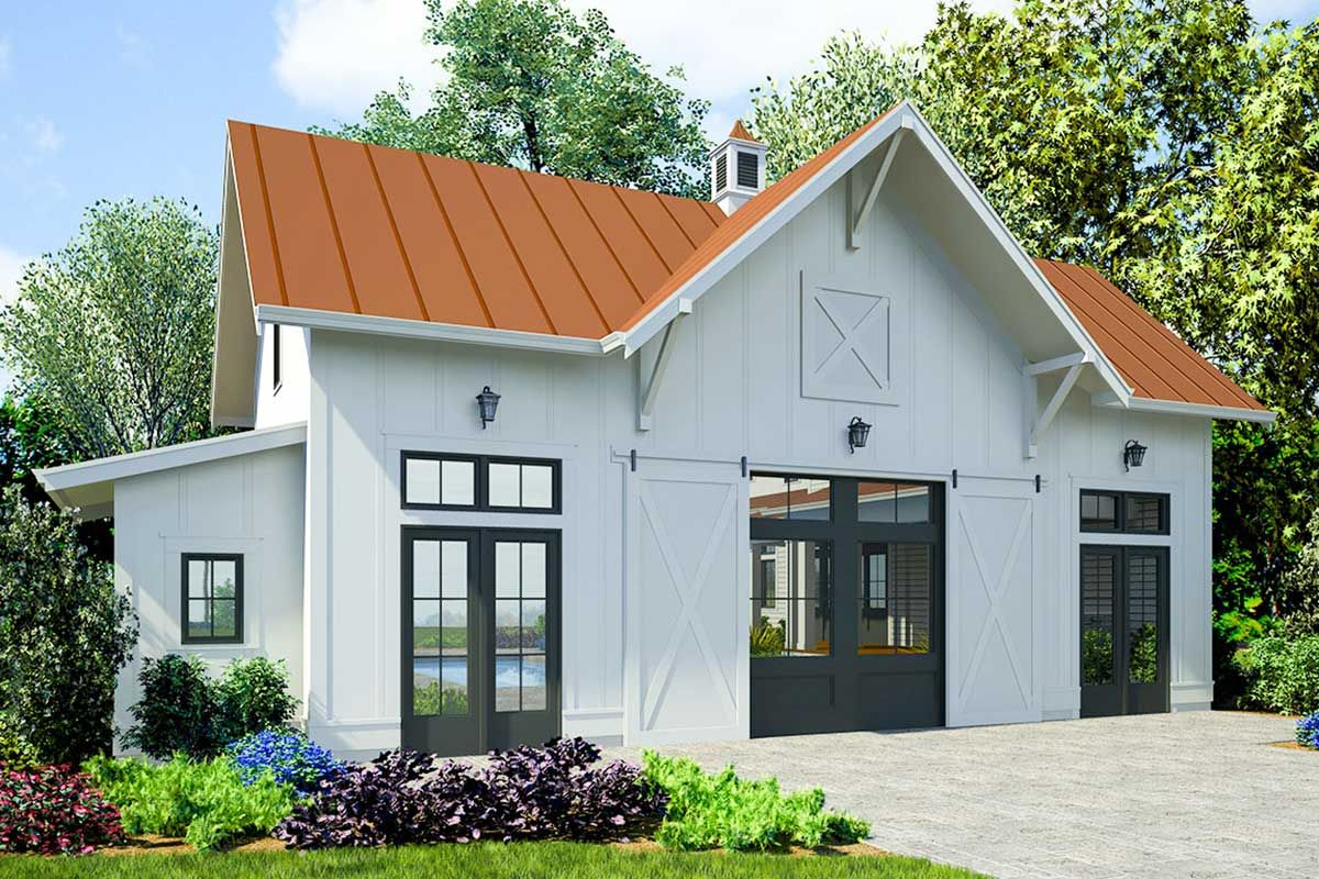 Plan 23765jd Guest Cabana With Tandem Garage Garage Guest House Backyard Guest Houses Guest House Plans