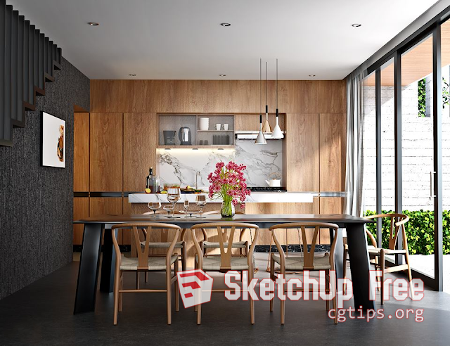 991 Interior Diningroom Scene Sketchup Model Free Download