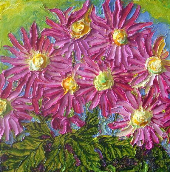 Pink Mums Original Fine Art Oil Painting By By