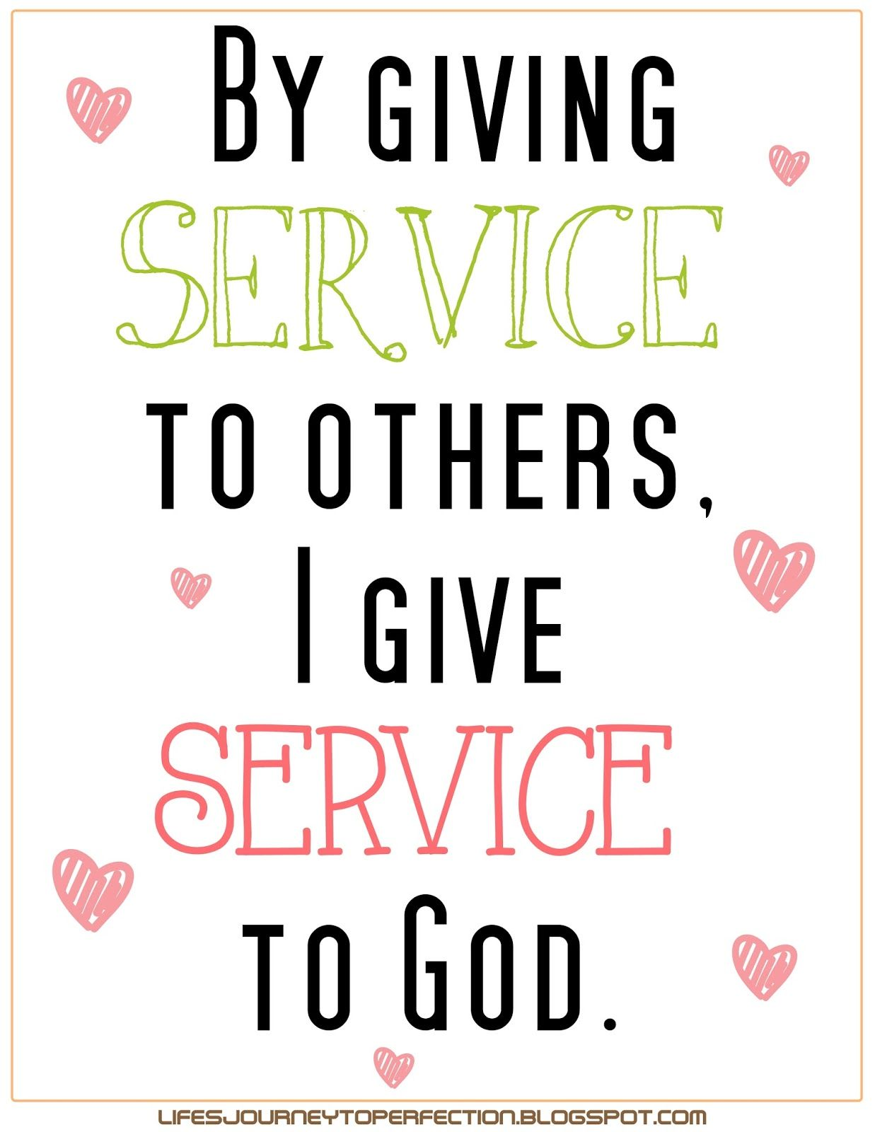Lds Sharing Time September Week 2 By Giving Service To Others I Give Service To God