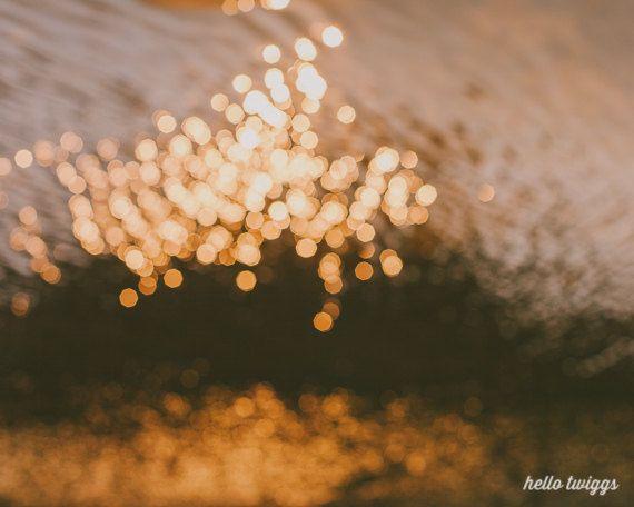 Nature Photograph, Abstract Photograph, Autumn Decor, Bokeh Print, Golden Photography, Dreamy, Golden Abstract Modern, Golden Glitter - Glow