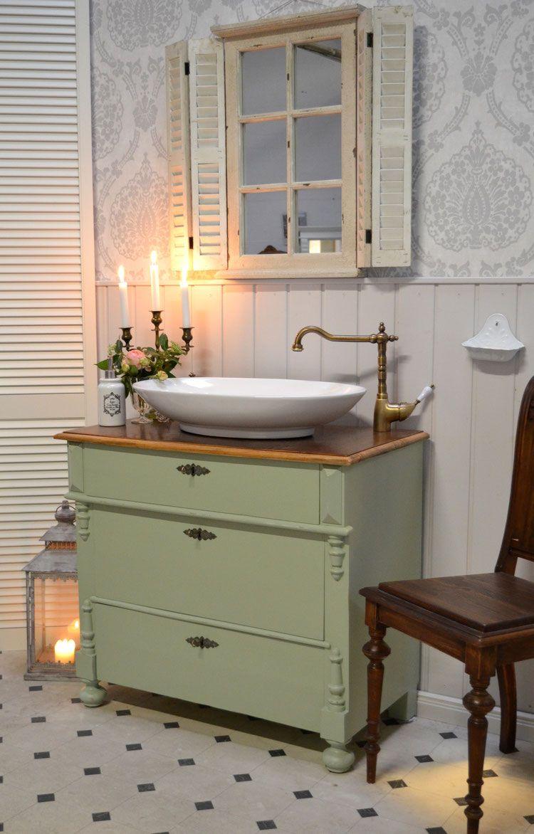 Menapi Nostalgischer Waschtisch Von Badmobel Landhaus Land Und Liebe Badmobel Landhaus Waschtisch Landhaus Badezimmer Rustikal