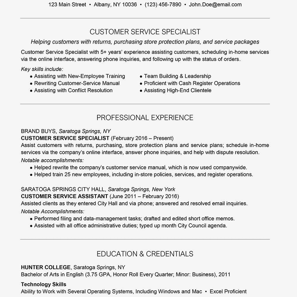 Resume Skills Summary Customer Service