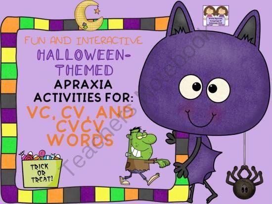 Interactive Halloween-Themed Apraxia Exercises VC, CV AND CVCV - cv words