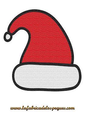 Imprimibles Y Plantillas De Navidad Gratis Gorros Calcetines Y Adornos La Fabrica De Los Peques Gorro De Papa Noel Papa Noel Dibujo Planta De Navidad