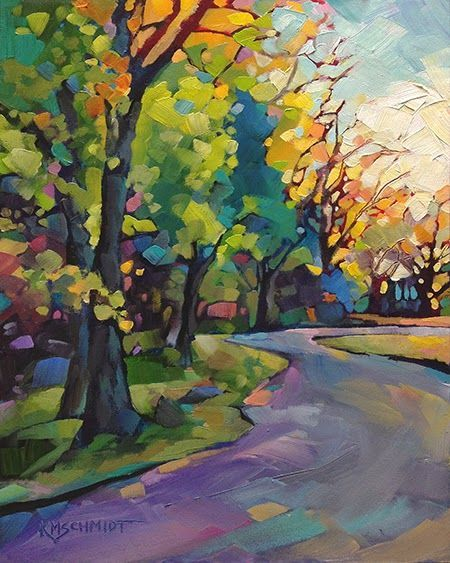 Around The Bend Fauve Impressionist Expressionist Colorist Landscape Oil Painting Bright And Colorful Illustration Of A Winding Country Road With Trees And Wo Oil Painting Impressionist Art Art Painting