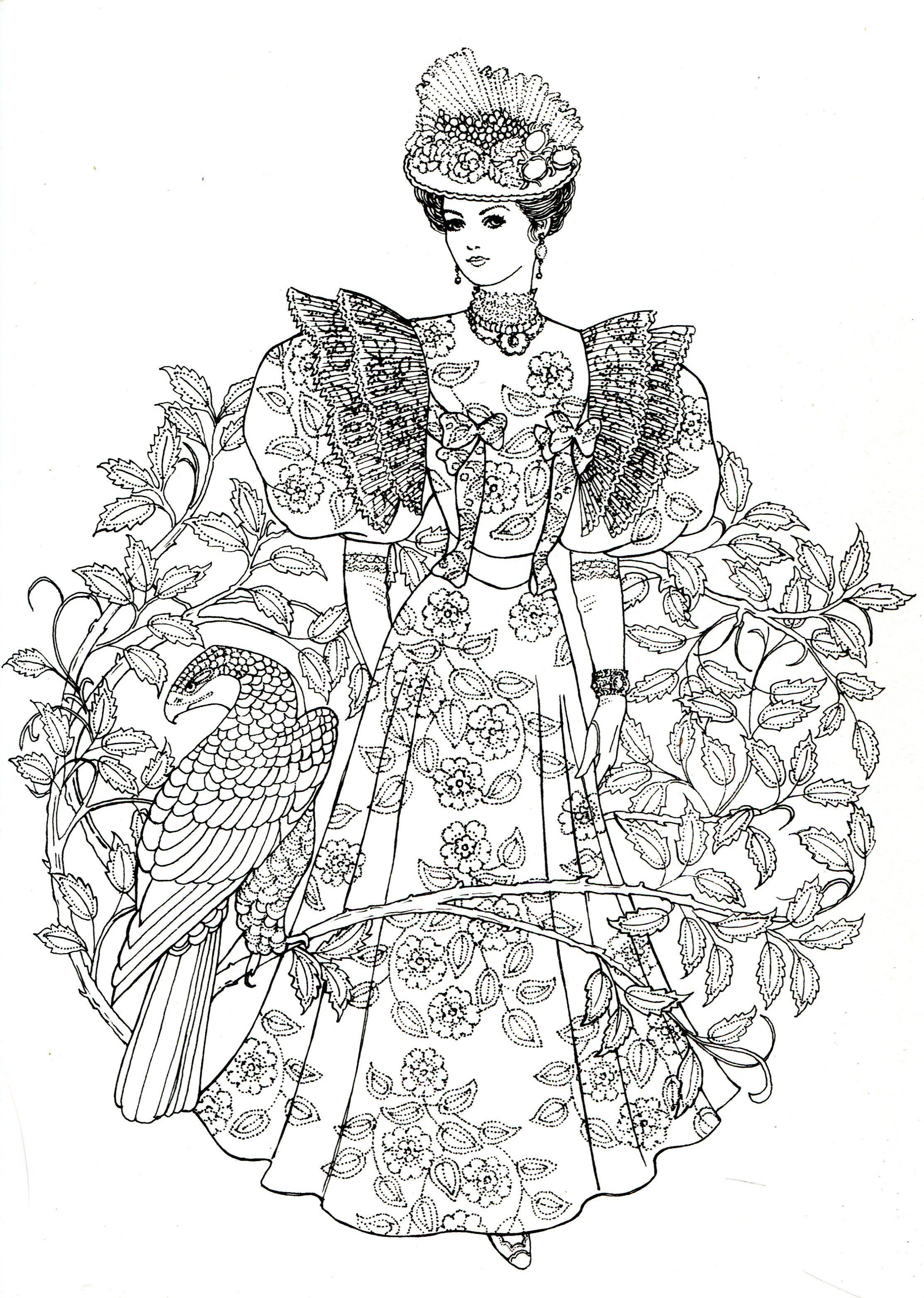 Art Nouveau Fashions for coloring | cute coloring book | Pinterest ...