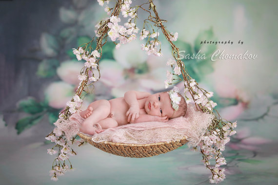 Outdoor Baby Swing >> Digital backdrop background newborn baby girl fairy tails swing blossoms pink chary | All things ...
