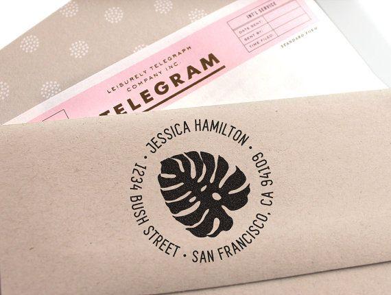 Custom stamp with tropical leaf custom return by mysplendidsummer    Stationery, rubber stamp, save the date stamp,  Self Inking Stamp custom, address stamp , tropical leaf philodendron Monstera