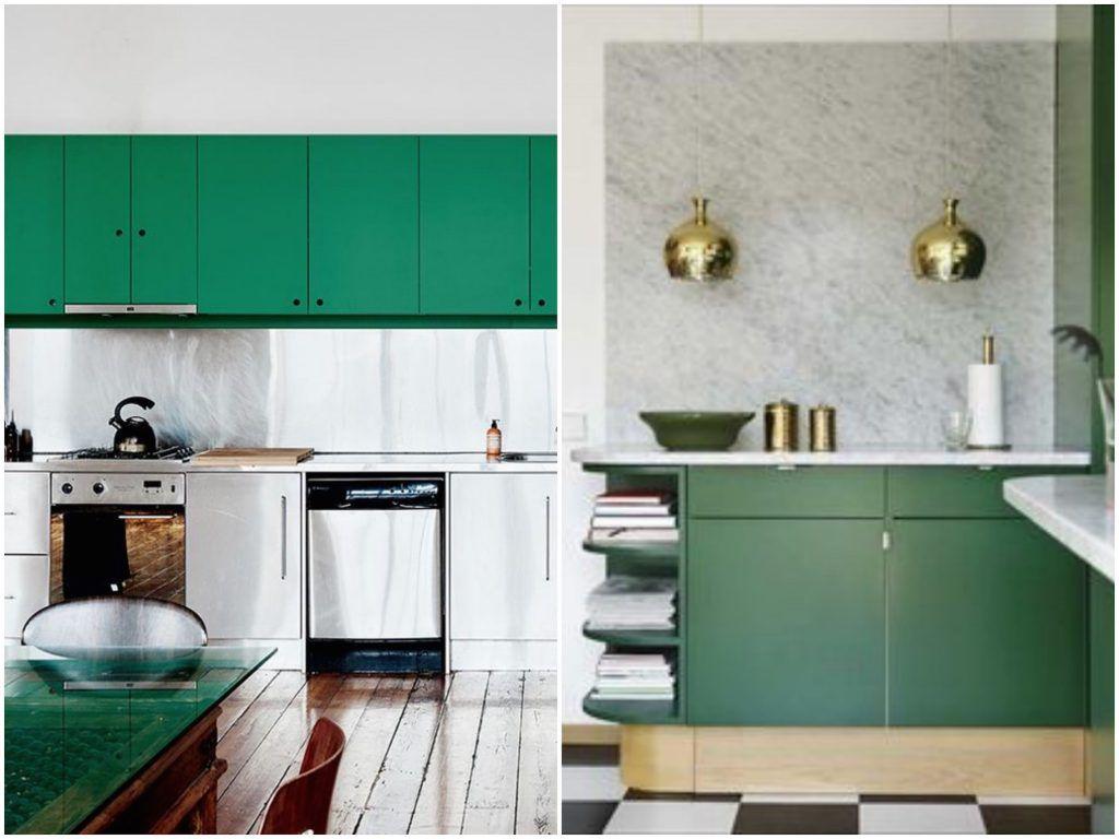 Cuisine verte : mur, meubles, électroménager - Blog Déco ClemATC ...