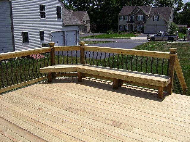 Pt Deck With Built In Bench Outdoor Remodel Deck Deck Bench