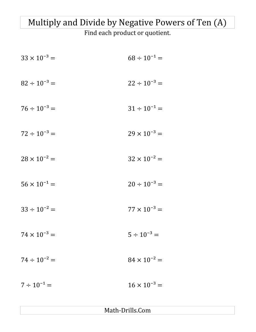 Multiplying Negative Numbers Worksheet Multiplying And Dividing Whole Numbers By Negative Powers Math Worksheets 10th Grade Math Worksheets Learning Worksheets [ 1165 x 900 Pixel ]