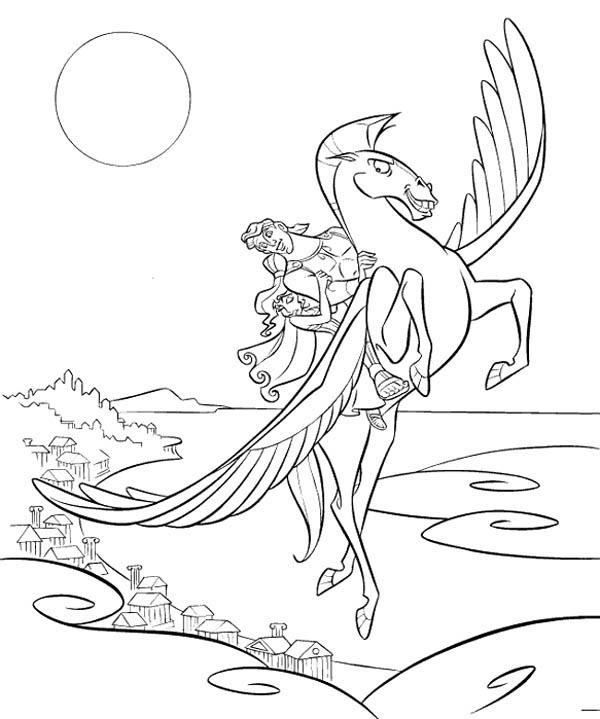 Hercules Take Megara Fly With Pegasus Coloring Pages Bulk Color Coloring Pages Cartoon Coloring Pages Love Coloring Pages