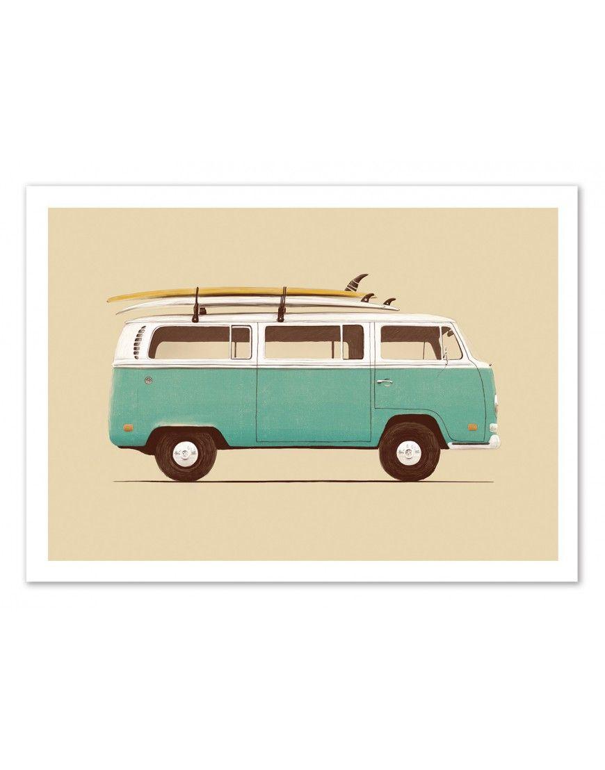 Poster Affiche Van Surf Hippie Florent Bodart Surf Vintage Dessin Surf Canevas