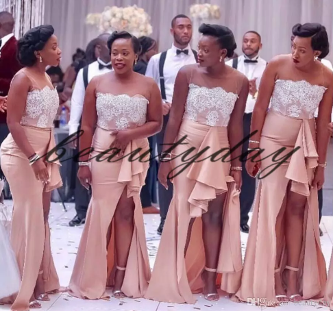 2019 Modest Nigerian African Bridesmaid Dresses Split Maid Of Honor Gowns  Formal Wedding Party Guest Dress vestidos de fiesta Sheer Neck 3b143d9fcc7a