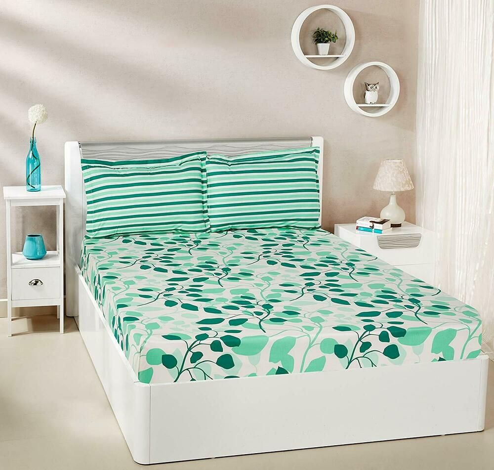 Leafy Spring 100 Cotton Double Bedsheet with 2 Pillow
