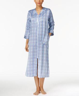Miss Elaine Brushed-Back Satin Zip-Front Long Robe  626b81106
